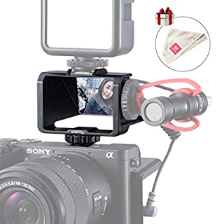 UURig Selfie Vlog Mirror Bracket for Sony A7 III II Flip Screen for Fujifilm XT3 XT20 Canon Panasonic GX85 Nikon Z7 Z6 w Cleaning Cloth, Microphone/Fill Light Extension Bracket for Mirror-Less Camera