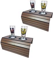 kit 2 Bandeja Esteira para braço de sofá com porta copos Castanho
