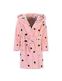 Danhjin Kid Kids Plush and Soft Fleece Shawl Bathrobe for Girls and Boys Bathrobes Hoodie Towel Pajamas Night Gown