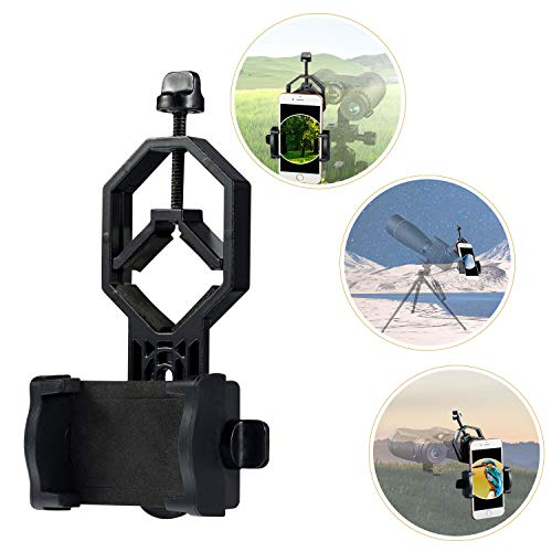 HUTACT Telescope Phone Mount, Universal Smart Phone Adapter Holder for Spotting Scope, Binoculars, Monocular, Microscope, 360° Rotatable Cellphone Clip fits Almost All Smartphone on The Market