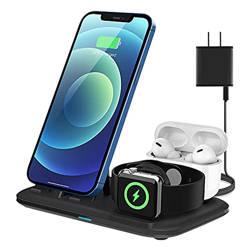 Charging Station 3 in 1, Fast Charging Stand for Apple Devices Charger Station for iWatch 6/SE/5/4/3/2/1 Charging Stand for iPhone AirPods Pro/2/1 Charging Dock Holder(with 18W Adapter) Matt Black
