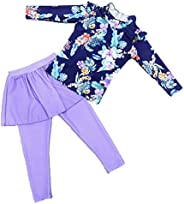 Monvecle Little Girls' Long Sleeve 2-Pieces Sun Protective Rashgurad Set UPF