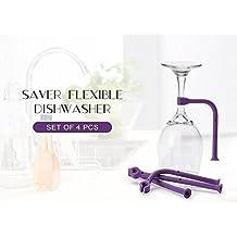 (4 Pack) Tether Stemware Saver Set -Flexible Dishwasher Stabilizer Holder for Wine Glasses-Purple