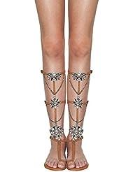 SCHUTZ Calista Lightwood Nude Leather Convertable Gladiator Jeweled Sandals