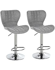 HOMCOM Set of 2 Counter Height Bar Stools Swivel Stool Height Adjustable Bar Chairs with Footrest for Kitchen Dining Home Pub, Grey
