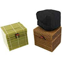 BambooMN Brand - Granulated Bamboo Charcoal Odor Absorber in Decorative 4 Box, Green and Brown 2pc