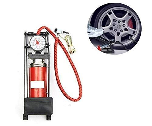 Lukzer (1 Pc) Multipurpose High Pressure Portable Foot Pump CN-200 for Motor Bikes Cars Balls Tyre Inflator Pressure Gauge [Red]