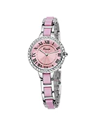 Tidoo Watches Noble Lady Series Womens Luxury Dress Watch WristWatch Analog Display Pink Dial Japaneses Quartz Movement Staintless Steel Silver Plated Crystals Inlay Case Pink Bracelet Band Luxury Water Resistant,Shinning And Expensive Looking,Best Gift for Female GirlFriend Lover Birthday Anniversary Valentine's Day And Christmas 506S
