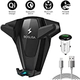 Wireless Car Charger, BOSLISA X-Man Wireless Fast Charger Car Mount, Air Vent Phone Holder, Compatible iPhone Xs MAX/XR/XS/X/8/8 Plus Samsung Galaxy S9/8/7/Note 8/9 and All Qi-Enabled Phones (Black)