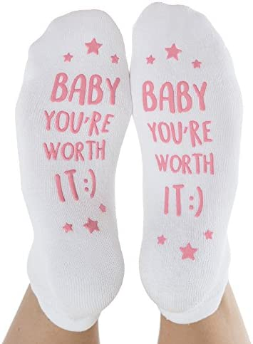 "Kindred Bravely Labor and Delivery Inspirational Fun Non Skid Push Socks for Maternity -""Baby You're Worth It!"""