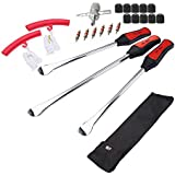 Dr.Roc Tire Spoons Lever Motorcycle Dirt Bike Lawn Mower Tire Changing Tools with Bag 1x14.5 inch 2x11 inch Tire Irons 2X Rim Protectors 1x Valve Core and Caps Set