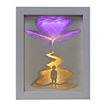 XINYE 3D Light Box Shadow Paper Carved Lamp LED Color Changing Night Light with Remote Control , Wood