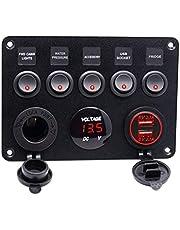 B Blesiya 5 Gang Rocker Switch Panel w/Digital Voltmeter+12V Power Socket +Double USB Power Charger Adapter Waterproof Red LED for Car Trailer Marine Boat
