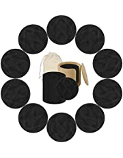 YARUMI Reusable Makeup Remover Pads, 20 Pack Black Bamboo Fiber Make-Up Remover Pads Double Layer Washable Cotton Rounds, Eco-friendly Face Cleansing Wipes Facial Cloth with Storage Bag & Bamboo Tube