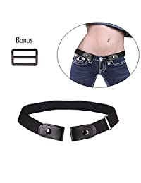 No Buckle Stretch Belt for Women/Men,Buckle-Free Elastic Belt for Jeans Pants Dresses Invisoble Belt No Bulge No Hassle (Black)