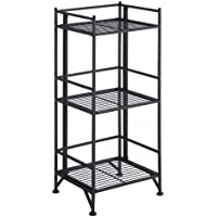 Convenience Concepts Designs2Go X-Tra Storage 3-Tier Folding Metal Shelf, Black