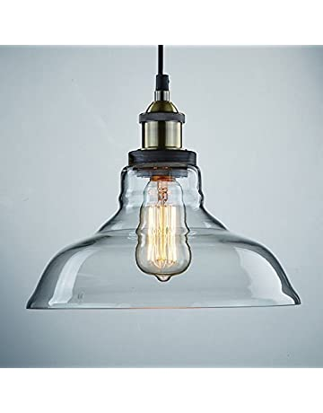 9fa7810c479 CLAXY Ecopower Industrial Edison Vintage Style 1-Light Pendant Glass Hanging  Light