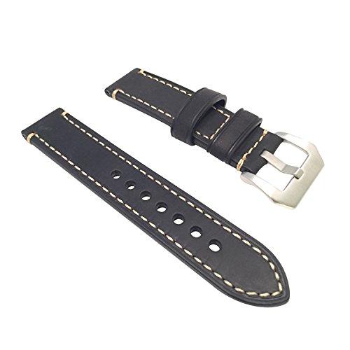 W&S 2-Piece Leather Watch Strap (26mm, Black)
