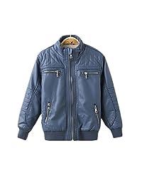 LJYH Boys Leather Jacket Thick Velvet Winter Children's Clothing