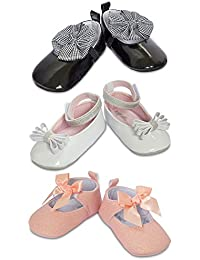 3 Pack Baby Girl Shoes- Baby Girl Dress Shoes- Soft Sole Crib Shoes- Baby Gift- for Newborn & Infant