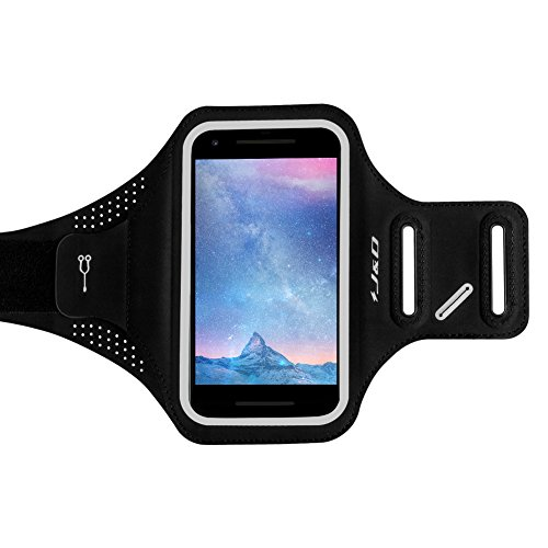J&D Armband Compatible for Apple iPhone X/XS/8/7/6/6S, Samsung Galaxy S9/S8/S7/S6, Google Pixel/Pixel 2/Pixel 3 Slim Armband, [Lightweight] Sports Armband with Key Holder Slot & Earphone Connection