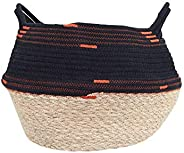 Creative Co-op Black & Orange Handwoven Seagrass & Cotton Rope Baske