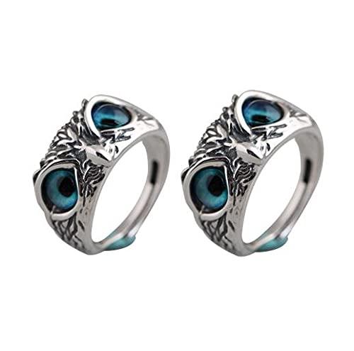 1pc/2pcs Eye Owl Shape Ring, Blue Retro Alloy Adjustable Mother's Fashion Ring Mother's Ring (2pcs)