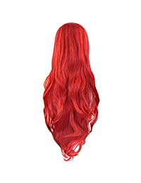 """Red Curly Cosplay Wigs 80cm, Marrywindix Halloween Cosplay Long Hair Heat Resistant Spiral Costume Wigs Red 32"""""""