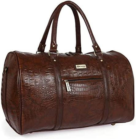 Fur Jaden Brown Textured Leatherette Stylish & Spacious Weekender Duffle Bag for Travel