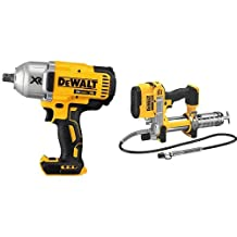 DEWALT DCF899B 20V MAX XR Brushless High Torque 1/2-Inch Impact Wrench with Detent Anvil & DEWALT DCGG571B 20V MAX Lithium Ion Tool Only Grease Gun