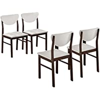 Kings Brand Furniture Dining Room Kitchen Wood Side Chair (Set of 4), Walnut/White