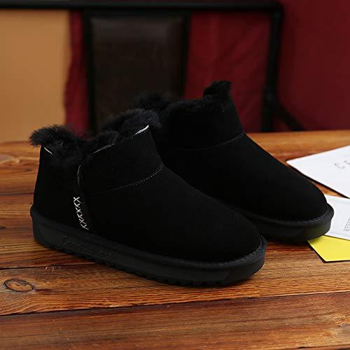 YSFU Stiefel Damen Stiefeletten Schneeschuhe Damenschuhe Verdickten Niedrige Flache Schuhe