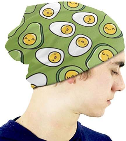 Boys' Novelty Hat Cute Egg and Kawaii Avocado Beanie Girl Warm Skull Knit Hat Unisex Slouchy Soft Kid Cap Black
