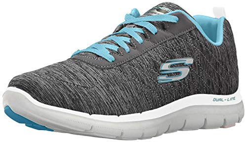 Skechers womens Flex Appeal 2.0 Sneaker, Black/Blue, 8 US