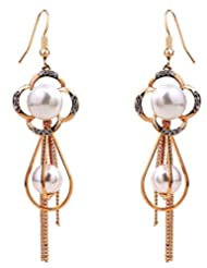 Richy-Glory - Earrings with Rose Gold Plated Imported Flower Long Earrings