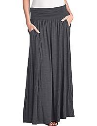 TRENDY UNITED Women's High Waist Fold Over Shirring Maxi...