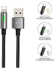 Mcdodo Led Smart Automatic Disconnect en Auto Recharge Color Light Quick Charging kabel USB Data Sync Charger kabel compatibel met telefoon X XR 1.2m ZILVER