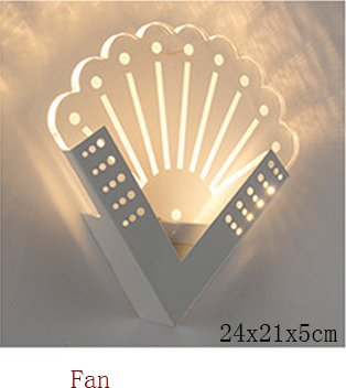5151BuyWorld Creative-Quadrat-LED Indoor Wandlampen-Licht Surface Mounted Nachttischlampen Moderne Acryl-Leuchter For Living Bed Raumbeleuchtung [Fan, Nature Weiß (3500-5500K)]