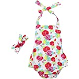 2Pcs/Set Infant Baby Girls Floral Print Ruffles Romper Jumpsuit Summer Clothes with Headband Outfits