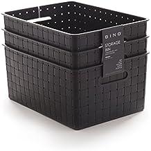 BINO Woven Plastic Storage Basket, Medium – 3 PACK (Black)