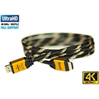 UPTab HDMI 2.0a Cable 6 FT - UHD 4K@60Hz with HDR - Braided Cord - Ultra High Speed 18Gbps - Gold Plated Connectors - Ethernet & Audio Return - Video 4K@60Hz 1080p 3D - Xbox PlayStation PC Apple TV 4K