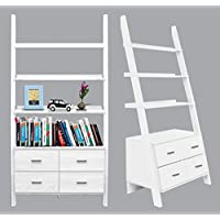 White Finished Ladder Bookshelf With Drawers