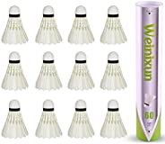 12 Pack Badminton Shuttlecocks, High Speed Badminton Birdies with Great Stability and Durability, Idea for Ind