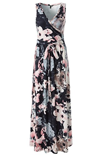 Zattcas Womens Bohemian Printed Wrap Bodice Sleeveless Crossover Maxi Dress (Medium, Mutil Gray)