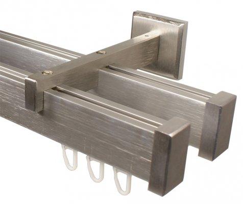 Eckige Design Innenlauf Gardinenstange 2-läufig aus Aluminium in Edelstahl Optik 160 cm