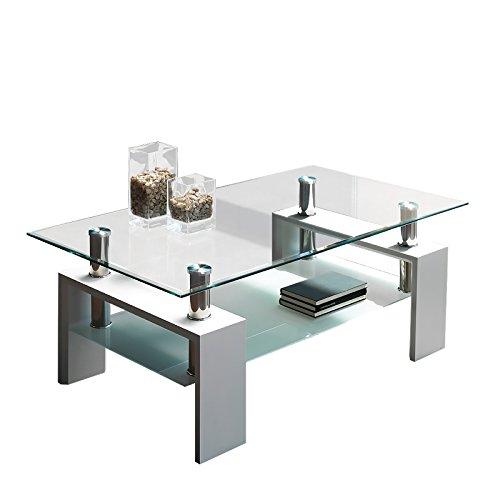 Due-home Mesa Centro Moderna de Cristal, Patas lacadas Color Blanco Brillo, Medidas