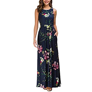 Zattcas Maxi Dresses for Women,Womens Crew Neck Sleeveless Summer Floral Maxi Dress with Pockets,Navy,Small