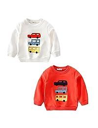 Vividda Little Boys 2 pack Crewneck Car Pattern Cotton Sweatshirt Pullover