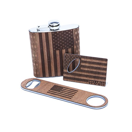 WUDN Handcrafted American Flag Barware - Patriotic Bottle Openers, Flasks, and Business Card Holders (Flask + Large/Small Opener)