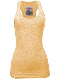 72604260d548b8 Women s Plain Solid Color Ribbed Racerback Tank Top Shirt Plus Sizes